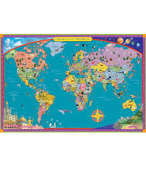 Map Of The World Poster by Children U0027s World Map The Four Corners Show The Seven Wonders Of