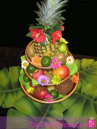 luau table centerpieces luau fruit and flower centerpiece top party ideas