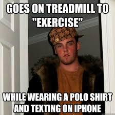 Polo Shirt Meme - goes on treadmill to exercise while wearing a polo shirt and