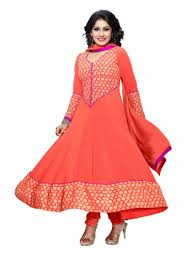 buy banorani peach faux georgette embroidery unstitched anarkali