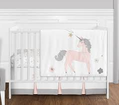 Crib Bedding Sets 4 Pc Pink Grey And Gold Unicorn Baby Crib Bedding Set