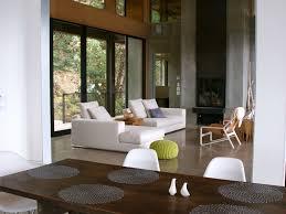 window seat large living room windows wall logs glass house