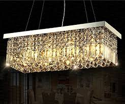 siljoy rectangular crystal chandelier lighting dining room pendant