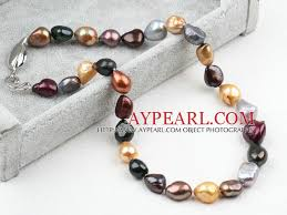 color pearl necklace images Classic design irregular shape multi color pearl necklace jpg