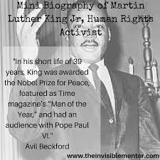 biography for martin luther king mini biography of martin luther king jr human rights activist