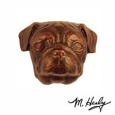 pug door knocker oiled bronze