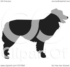 australian shepherd illustration clipart of a black silhouetted australian shepherd dog in profile