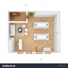 studio apartment floor plan top view isolated on white stock photo