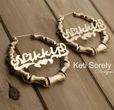 hoop earrings with name large bamboo name earrings hoop earrings with personalized name