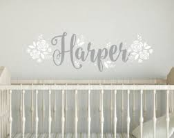 Wall Name Decals For Nursery Name Wall Decal With Flowers Fancy Name Decal Script