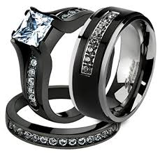 black wedding rings his and hers his 3 pc black stainless steel engagement