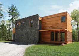 modern prefab cabin res4 s modern prefab home beautifully combines wood and stone in