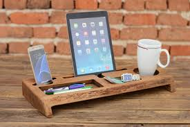 Wood Desk Accessories And Organizers Wooden Desk Organizer Office Organizer Phone Station Solid