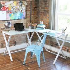computer desk glass metal x frame glass and metal l shaped computer desk free shipping today