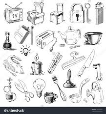 household home objects collection hand drawing stock vector