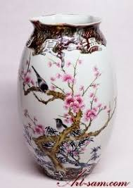 Chinese Hand Painted Porcelain Vases Birds U0026 Flowers White Hand Painted Famille Rose Jingdezhen