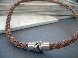 braided leather necklace images Mens thick braided leather necklace and bracelet set with jpg