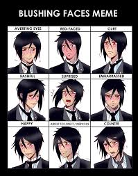 Blushing Meme - blushing faces meme sebastian by claudiakat on deviantart