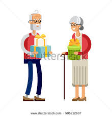 gifts for elderly grandmother vector flat illustration elderly celebrating stock vector