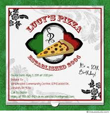 pizza birthday invitations tween event card