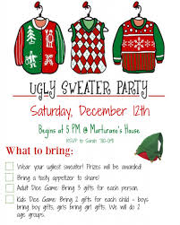 how to host an sweater invitation wording