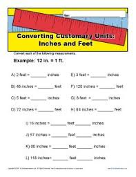 unit conversion worksheet inches and feet customary units