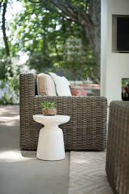 outdoor living space get the look room for tuesday i really like their square arm shape and all weather function the engineered woven wicker is safe to be left outdoors year round even in ohio