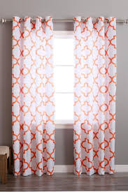Orange And White Curtains And White Moroccan Velvet Curtain