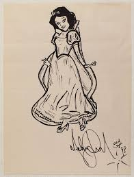 lot detail michael jackson original signed drawing of snow white