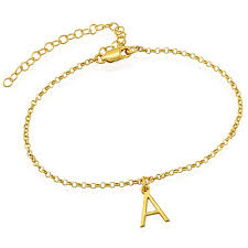 ankle bracelet with images Ankle bracelet with initial in gold plating mynamenecklace jpg