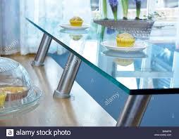 Glass Breakfast Bar Table A Glass Breakfast Bar Shelf In A Kitchen Stock Photo 28132697 Alamy