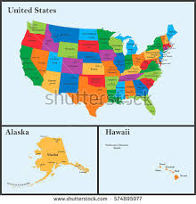 map of is states colorful usa map states capital cities stock vector 258152768