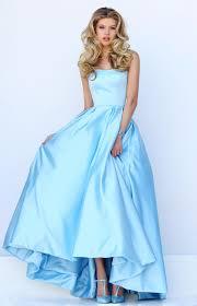 light blue satin strapless high low ball gown prom dress queen