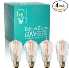 edison bulbs 4 pack dimmable 60w incandescent exposed filament