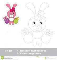 easter bunny to be traced vector trace game stock vector image