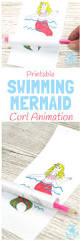 swimming mermaid craft printable curl animation kids craft room
