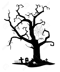 spooky black silhouette of tree near cemetery royalty free cliparts