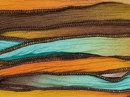 silk ribbon dyed tequila blue green gold and orange silk ribbon