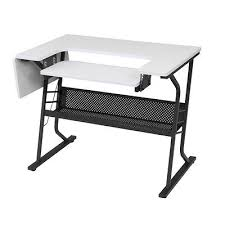 white sewing machine craft table folding computer desk storage