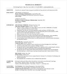 Resume Sample For Banking Operations by Mba Resume Template U2013 11 Free Samples Examples Format Download