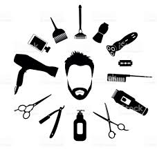 barber tools and haircut icons set for men stock vector art