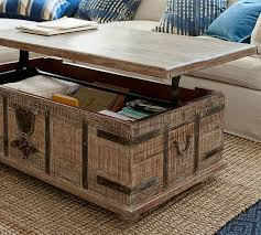 lift top trunk coffee table kaplan lift trunk pottery barn
