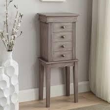 Dresser Top Jewelry Armoire Wooden Rustic Flip Top Jewelry Armoire With 4 Storage Drawers