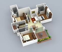 3 bedroom house plans insight of 3 bedroom 3d floor plans in your house or apartment design