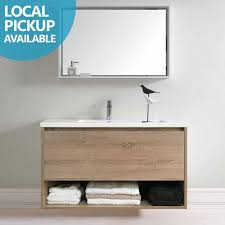 White Wood Grain Eden 600mm White Oak Timber Wood Grain Wall Hung Vanity With