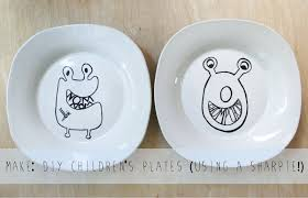the plumed nest make diy children s plates made with sharpies