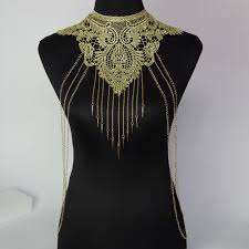 gold chain collar necklace images Lace flower collares gold body chains women hollow out big gothic jpg