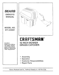 sears lawn mower accessory 917 249491 user guide manualsonline com