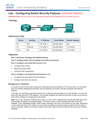 lab u2013 configuring switch security features instructor version