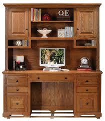 Oak Desk With Hutch Eagle Oak Ridge Pedestal Desk Hutch With